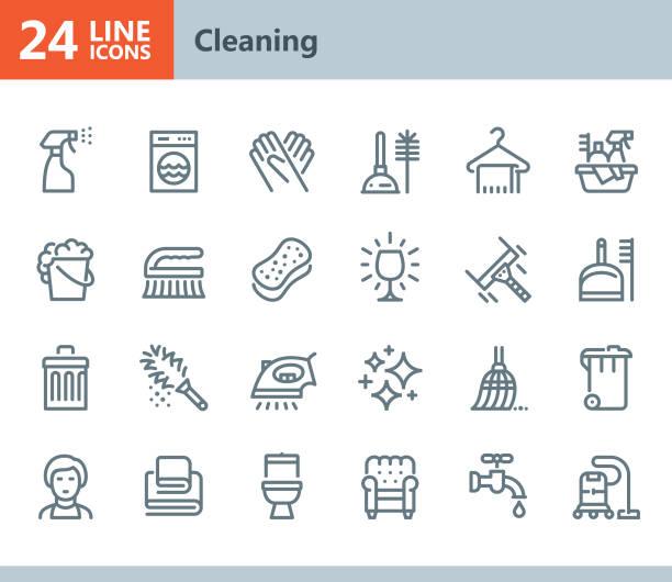ilustrações, clipart, desenhos animados e ícones de limpeza - ícones do vetor linha - afazeres domésticos