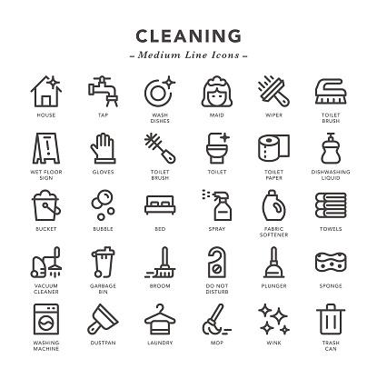 Cleaning - Medium Line Icons