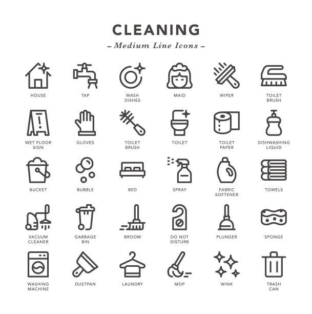cleaning - medium line icons - disinfectant stock illustrations