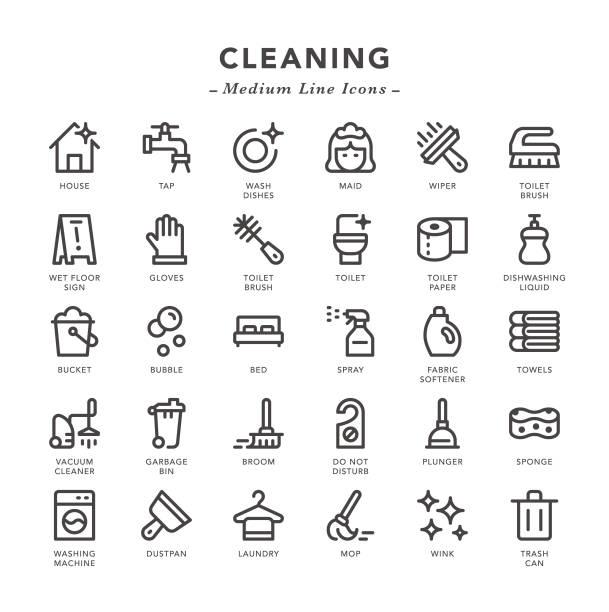 temizleme-orta hat simgeleri - cleaning stock illustrations