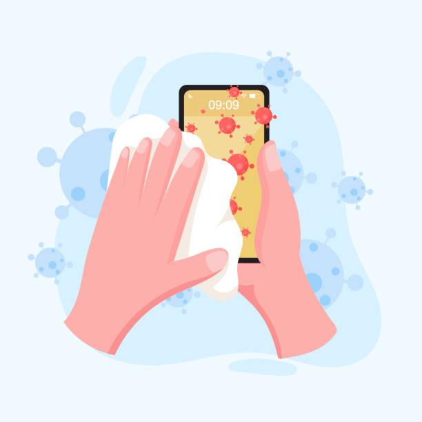 stockillustraties, clipart, cartoons en iconen met schoonmaken van mobiele telefoon scherm - corona scherm