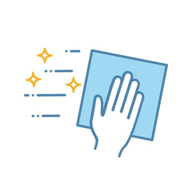 ilustrações de stock, clip art, desenhos animados e ícones de cleaning napkin icon - na superfície