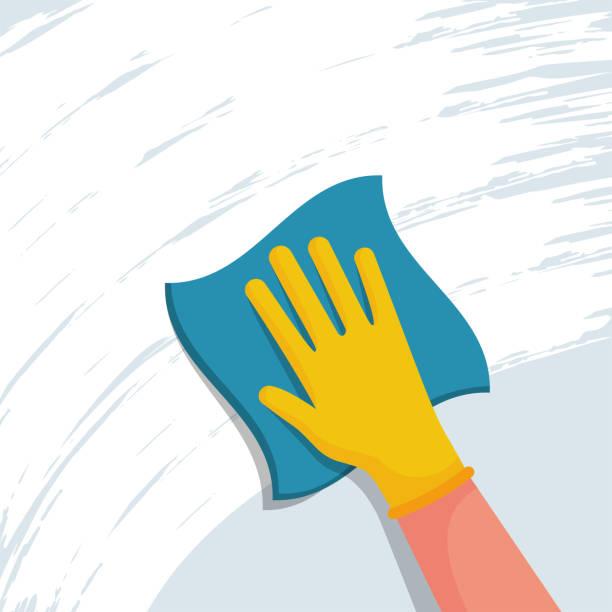 ilustrações de stock, clip art, desenhos animados e ícones de cleaning napkin in the hands of a houseworker. cleaning window. - na superfície