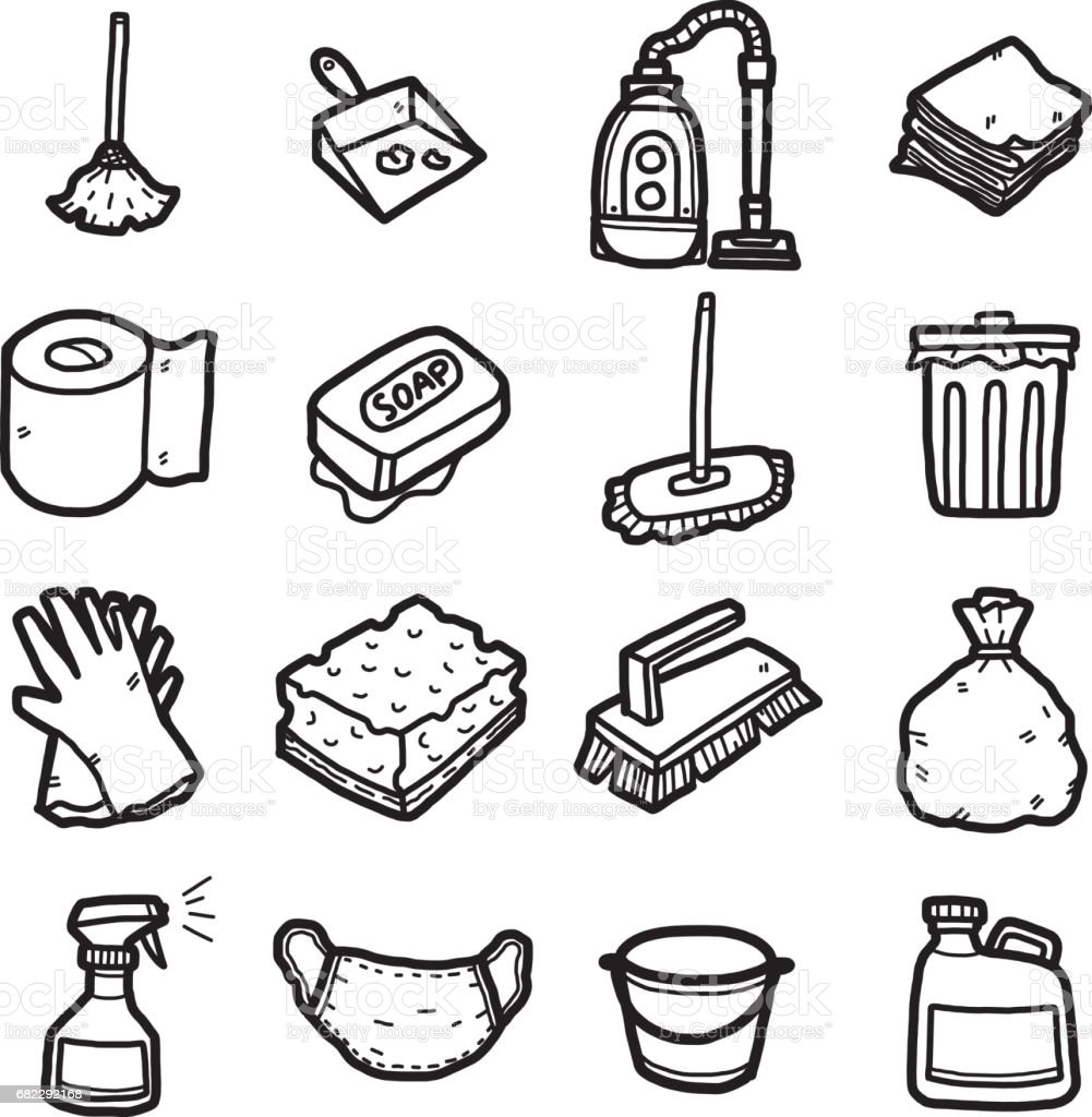 cleaning objects, icons set vector art illustration