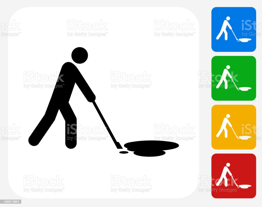Cleaning Oil Spill Icon Flat Graphic Design vector art illustration