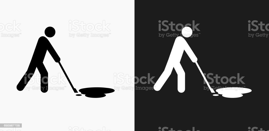 Cleaning Oil Spill Icon on Black and White Vector Backgrounds vector art illustration