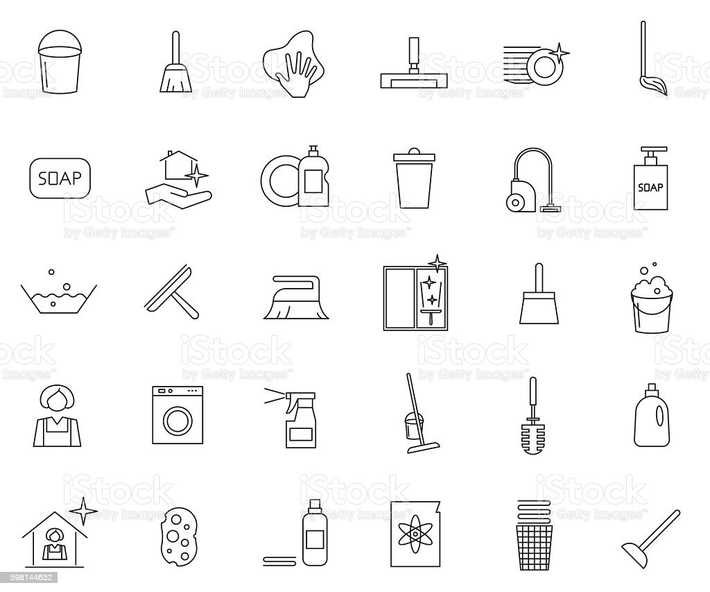 Cleaning outline icon set ベクターアートイラスト
