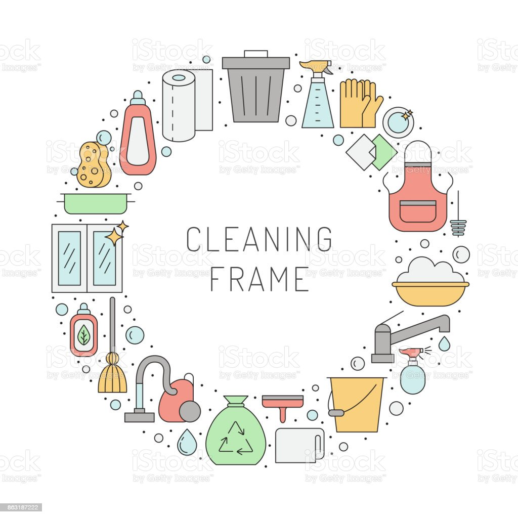 Cleaning Outline Vector Circle Frame Stock Vector Art & More Images ...