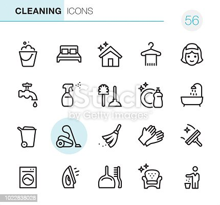 20 Outline Style - Black line - Pixel Perfect icons / Set #56 Icons are designed in 48x48pх square, outline stroke 2px.  First row of outline icons contains:  Bucket icon, Double Bed, Shiny House, Towel on Hanger, Maid;  Second row contains:  Faucet, Spray Bottle, Toilet Brush and Plunger, Dishwashing Liquid, Bathtub;  Third row contains:  Garbage Bin, Vacuum Cleaner, Broom, Protective Glove, Squeegee;   Fourth row contains:  Washing Machine, Iron-Appliance, Dustpan and Scrubbing Brush, Furniture Cleaning, Throw Waste icon.  Complete Primico collection - https://www.istockphoto.com/collaboration/boards/NQPVdXl6m0W6Zy5mWYkSyw