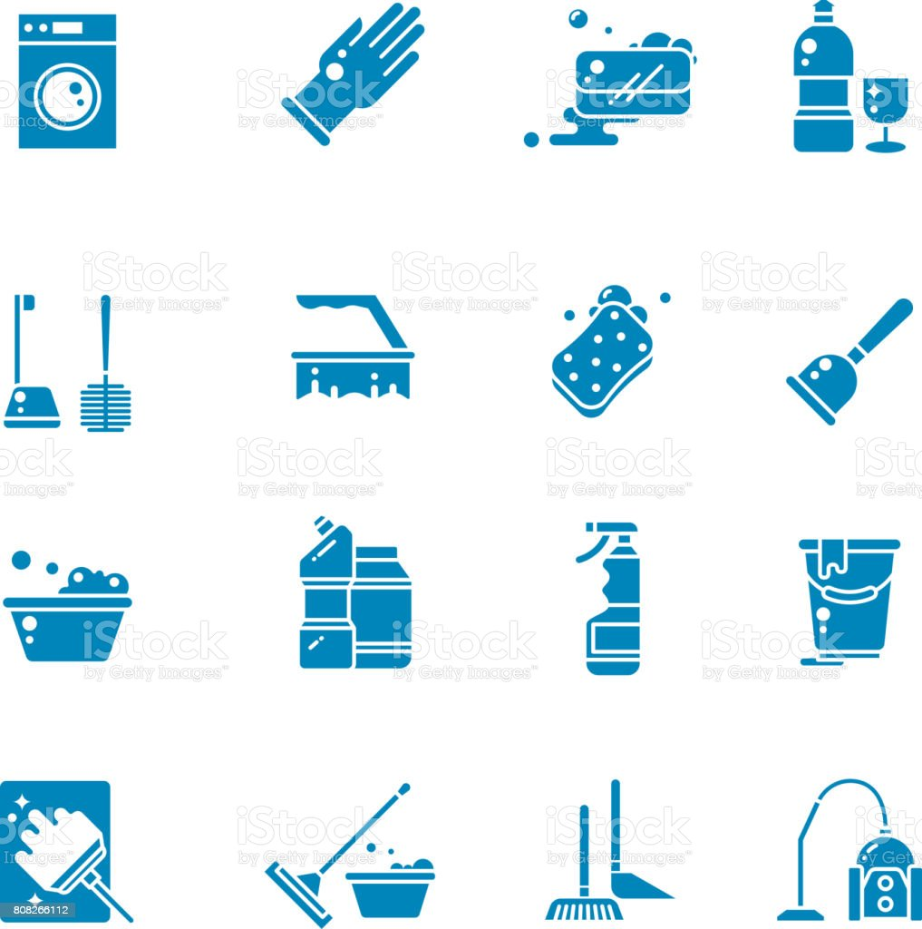 Cleaning Products And Services Silhouette Vector Icons Washing
