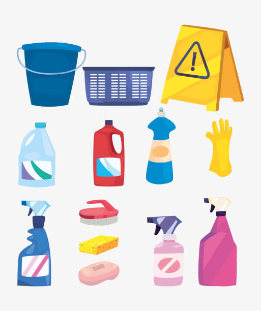 cleaning products and supplies design - bleach stock illustrations