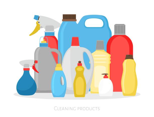 cleaning products bottles. isolated plastic packing set, detergent cleaner housekeeping objects vector illustration - bleach stock illustrations