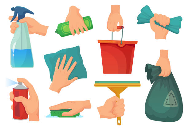 cleaning products in hands. hand hold detergent, housework supplies and cleanup rag cartoon vector illustration set - disinfectant stock illustrations