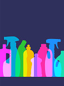 Colourful overlapping silhouettes of Cleaning Products.