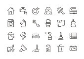 Cleaning - Regular Line Icons - Vector EPS 10 File, Pixel Perfect 24 Icons.