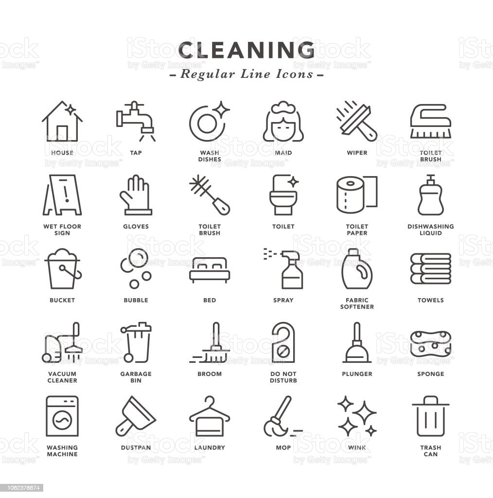 Reiniging - regelmatige lijn pictogrammen - Royalty-free Afwashandschoen vectorkunst