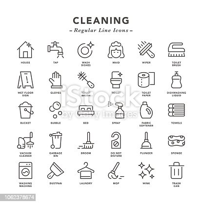 Cleaning - Regular Line Icons - Vector EPS 10 File, Pixel Perfect 30 Icons.