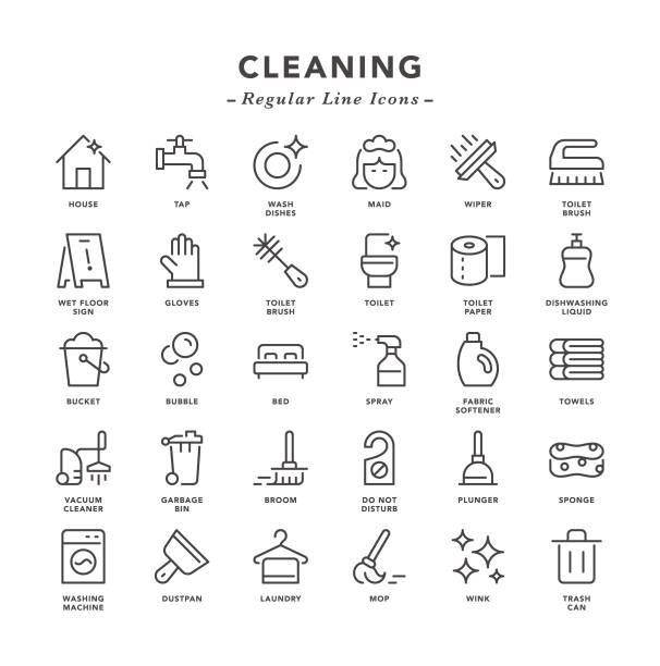 cleaning - regular line icons - disinfectant stock illustrations