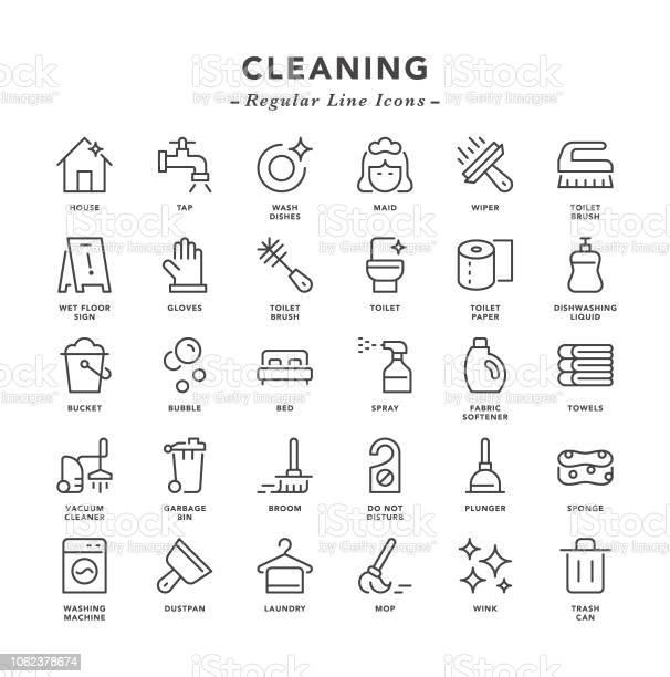 Reiniging Regelmatige Lijn Pictogrammen Stockvectorkunst en meer beelden van Afwashandschoen