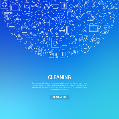 Cleaning Related Banner Design with Pattern. Modern Line Style Icons Vector Illustration