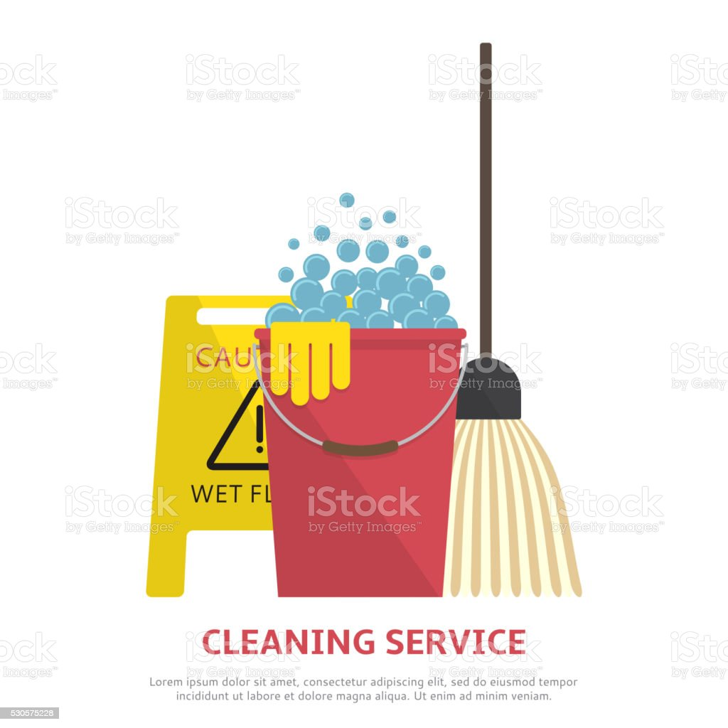 Cleaning service banner  in flat style vector art illustration