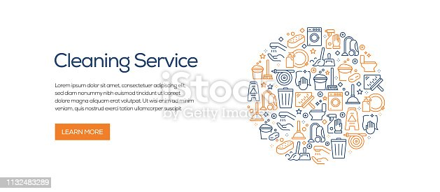 istock Cleaning Service Banner Template with Line Icons. Modern vector illustration for Advertisement, Header, Website. 1132483289