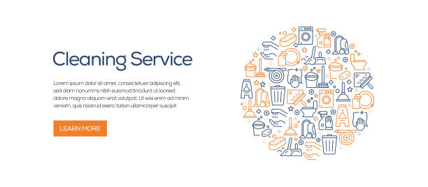 Cleaning Service Banner Template with Line Icons. Modern vector illustration for Advertisement, Header, Website. Cleaning Service Banner Template with Line Icons. Modern vector illustration for Advertisement, Header, Website. bathroom patterns stock illustrations