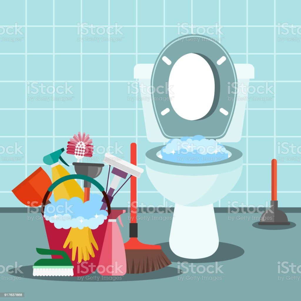 Cleaning Service Bathroom Interior With Toilet Seat And Cleaning ...