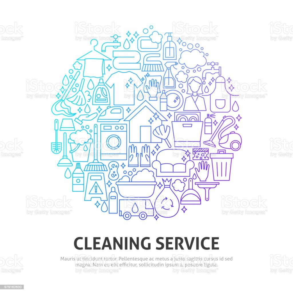 Reinigung Service Kreis-Konzept – Vektorgrafik