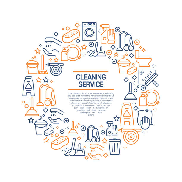 Cleaning Service Concept - Colorful Line Icons, Arranged in Circle Cleaning Service Concept - Colorful Line Icons, Arranged in Circle bathroom patterns stock illustrations