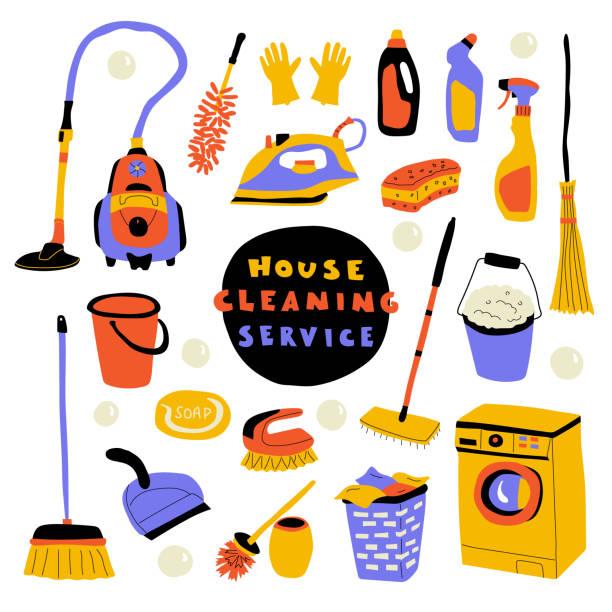 クリーニングサービス、レタリング付きかわいい落書きセット。面白い漫画の家の掃除。●手描きベクトルイラスト。 - 楽しい 洗濯点のイラスト素材/クリップアート素材/マンガ素材/アイコン素材