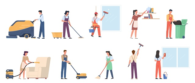 Cleaning service. Employees in uniform with professional industrial washer equipment, male and female staff with detergents and special tools, housekeeper maid or janitor vector set