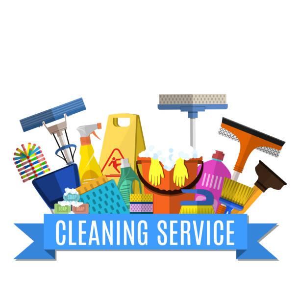 illustrazioni stock, clip art, cartoni animati e icone di tendenza di servizio di pulizia illustrazione piatta - cameriera