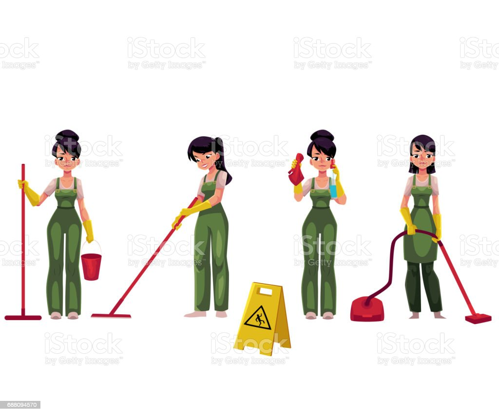 Cleaning service girl, charwoman with vacuum cleaner, mop and bucket vector art illustration