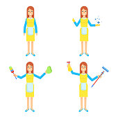 Cleaning service. Girl in uniform with different devices for cleaning. Flat vector cartoon illustration. Objects isolated on white background.