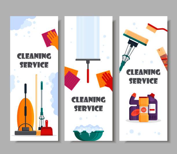 reinigung service horizontale banner. set haus reinigung von werkzeugen, reinigungsmittel und desinfektionsmittel, haushaltsgeräte zum waschen - flache vektor-illustration - fenster putzen stock-grafiken, -clipart, -cartoons und -symbole