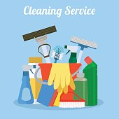 Cleaning service. House cleaning services with various cleaning tools.