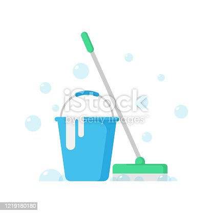 istock Cleaning Service Icon. Cleaning Concept, Cleaning Equipment and Tools Flat Design. 1219180180