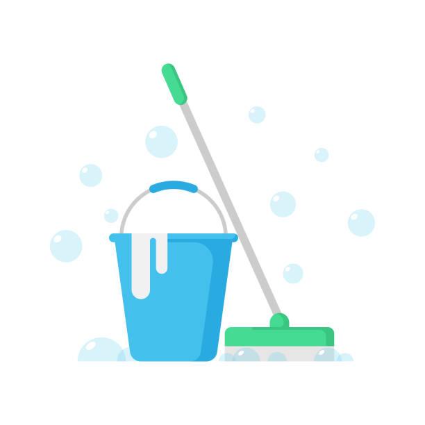 stockillustraties, clipart, cartoons en iconen met pictogram schoonmaakservice. reinigingsconcept, reinigingsapparatuur en gereedschap seinen flat design. - emmer