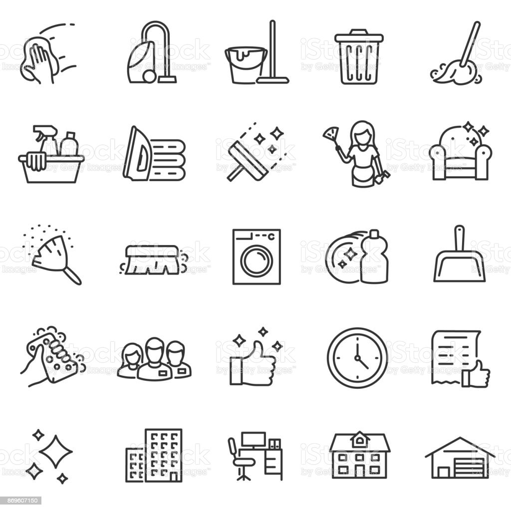 Cleaning service, icon set. Editable stroke vector art illustration