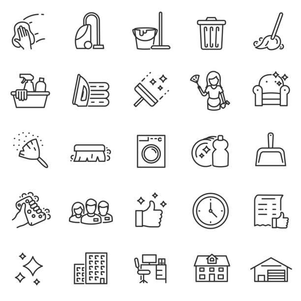ilustrações, clipart, desenhos animados e ícones de serviço de limpeza, conjunto de ícones. curso editável - afazeres domésticos
