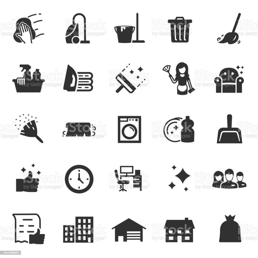 Reinigung Service Symbole festgelegt. Dienstleistungen für Reinigung und Wäsche – Vektorgrafik