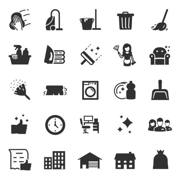 stockillustraties, clipart, cartoons en iconen met schoonmaak service pictogrammen instellen. diensten voor het reinigen en wasserij - net