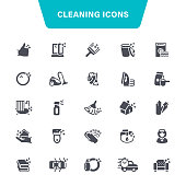 Cleaning, Toilet, Laundry, Washing, Dusting, Icon Set