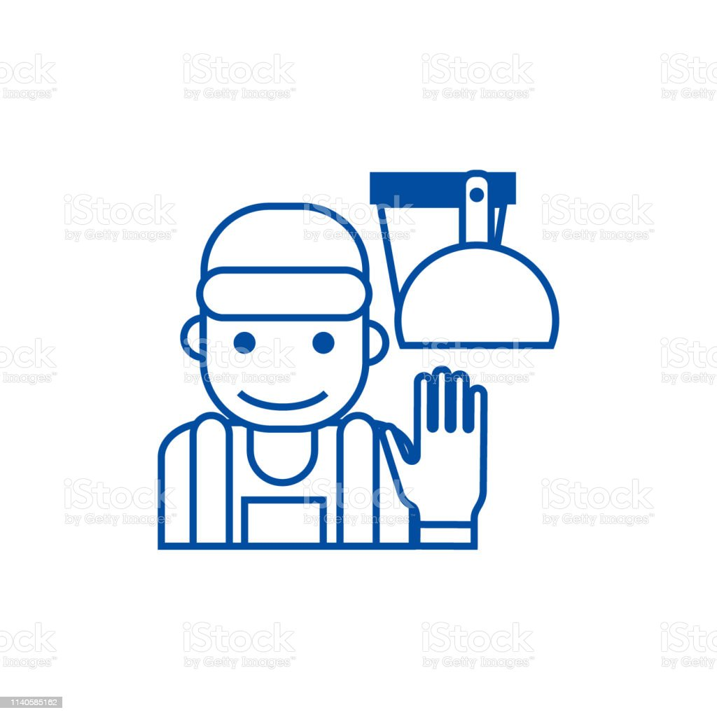 Cleaning service illustration line concept icon. Cleaning service...