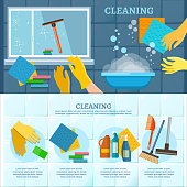 Cleaning service infographic. Washing windows home cleaning