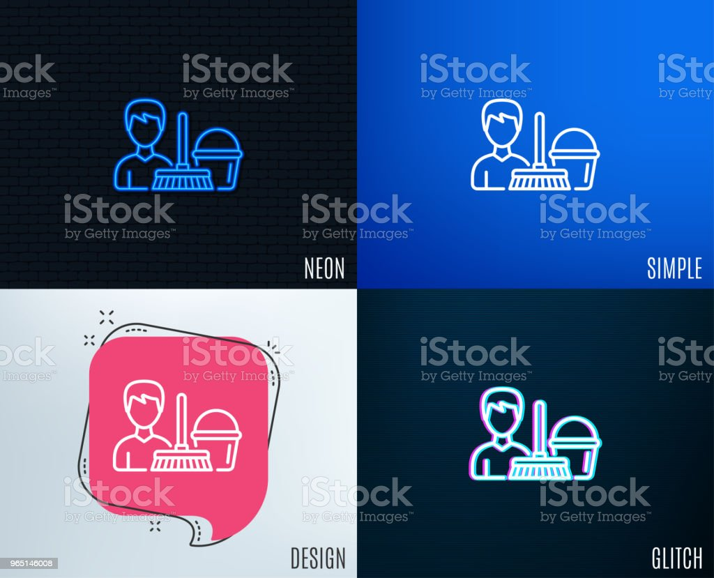 Cleaning service line icon. Bucket with mop. royalty-free cleaning service line icon bucket with mop stock vector art & more images of adult