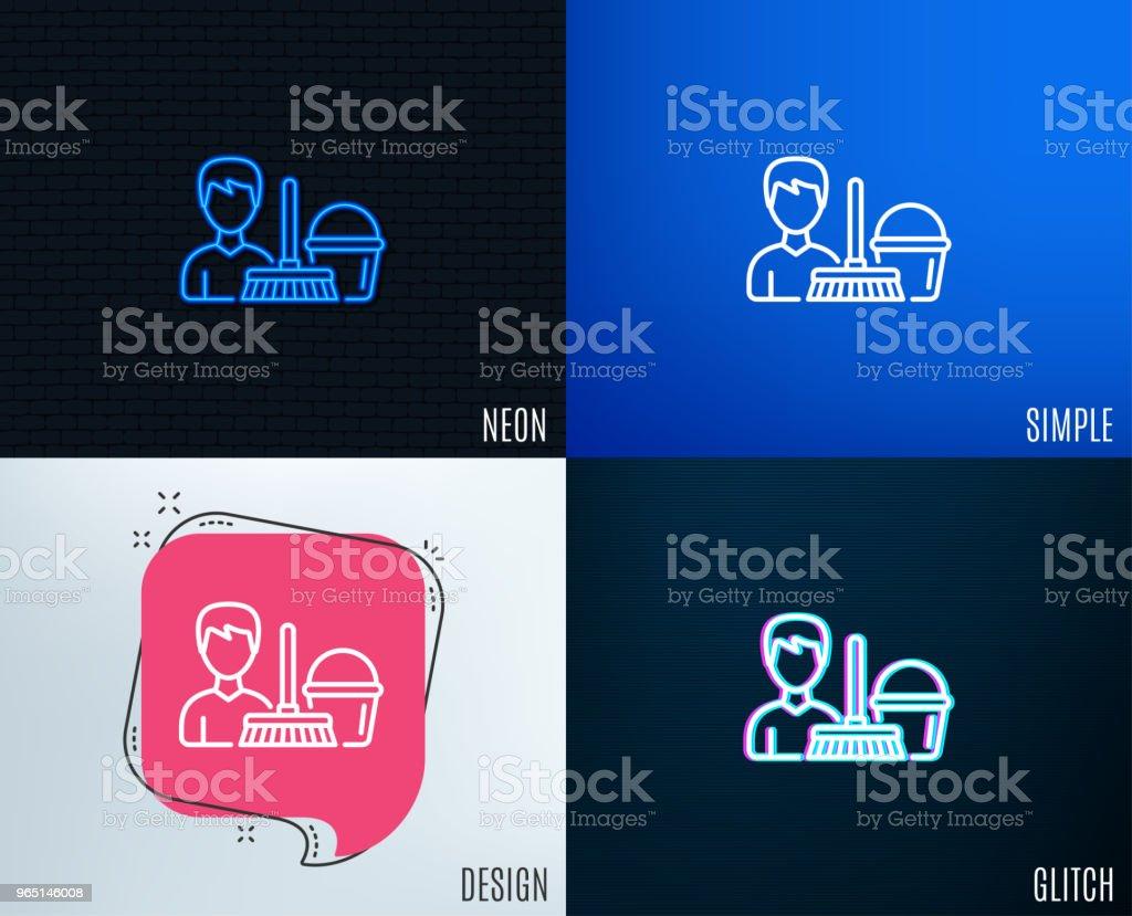 Cleaning service line icon. Bucket with mop. cleaning service line icon bucket with mop - stockowe grafiki wektorowe i więcej obrazów ciecz royalty-free