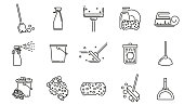 Cleaning service linear icons set.