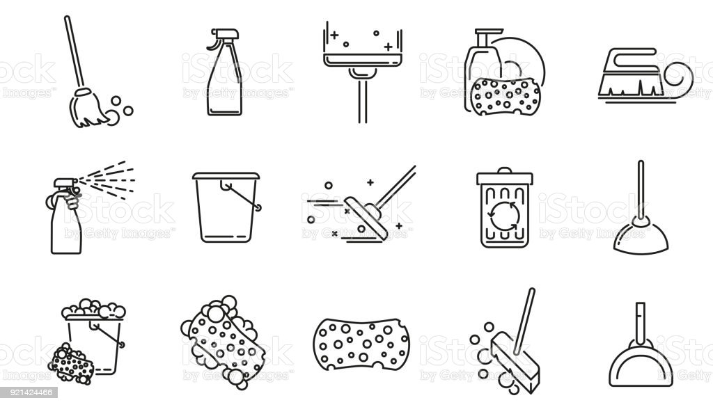Cleaning service linear icons set. vector art illustration